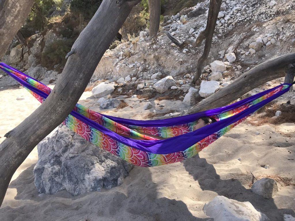 Apella Beach, hangmat, Karpathos, stranden